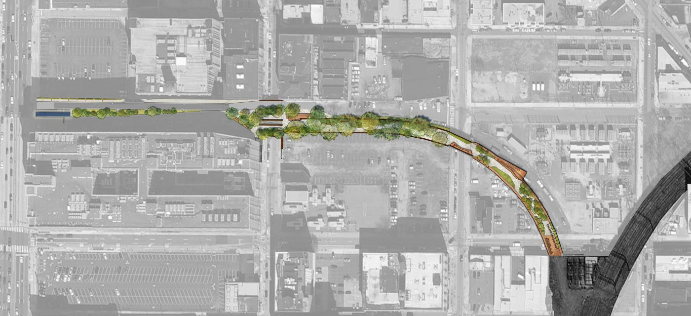 This aerial rendering shows Phase 1 of the Rail Park, running from Broad Street on the far left side to the southern end at Callowhill Street.