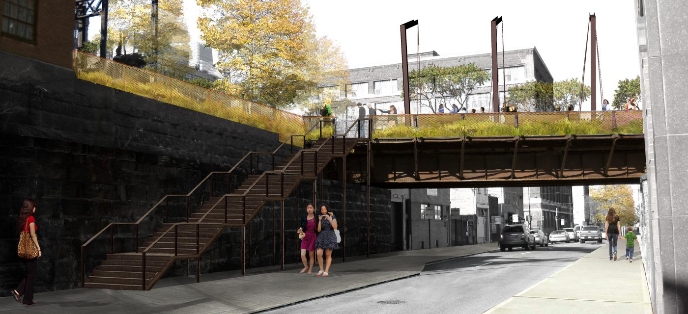 Phase 1 of the Rail Park features three entrances, including the Callowhill stairway shown here.