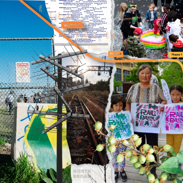Collage of images including people at a Rail Park event, the undeveloped sections of the Rail Park, people holding up Rail Park artwork, and map clippings